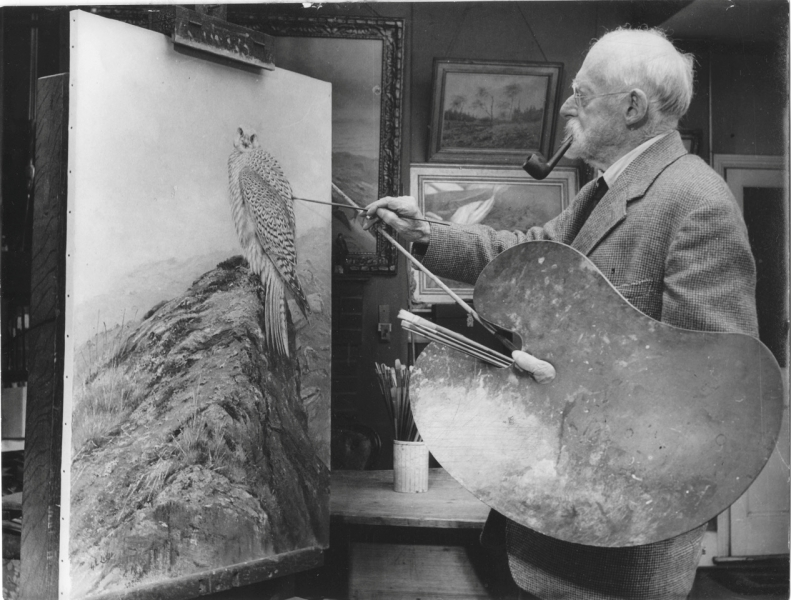 The artist at work in his Camberley studio, 1947