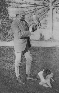 The Hon. Gerald Lascelles with falcon and spaniel.